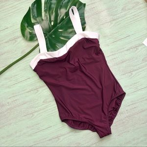 MiracleSuit One Piece Swimsuit Size 12 Burgundy